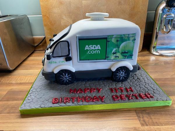 Asda van birthday cake for Dexter McDonald