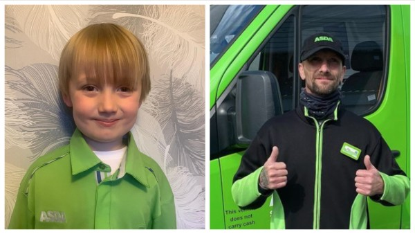 Rob Perry from Asda Blackpool and his son and Wyatt Perry
