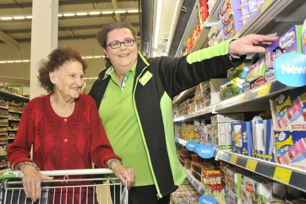 Asda Rushden customer Olive Lovell with colleague Debbie Cox