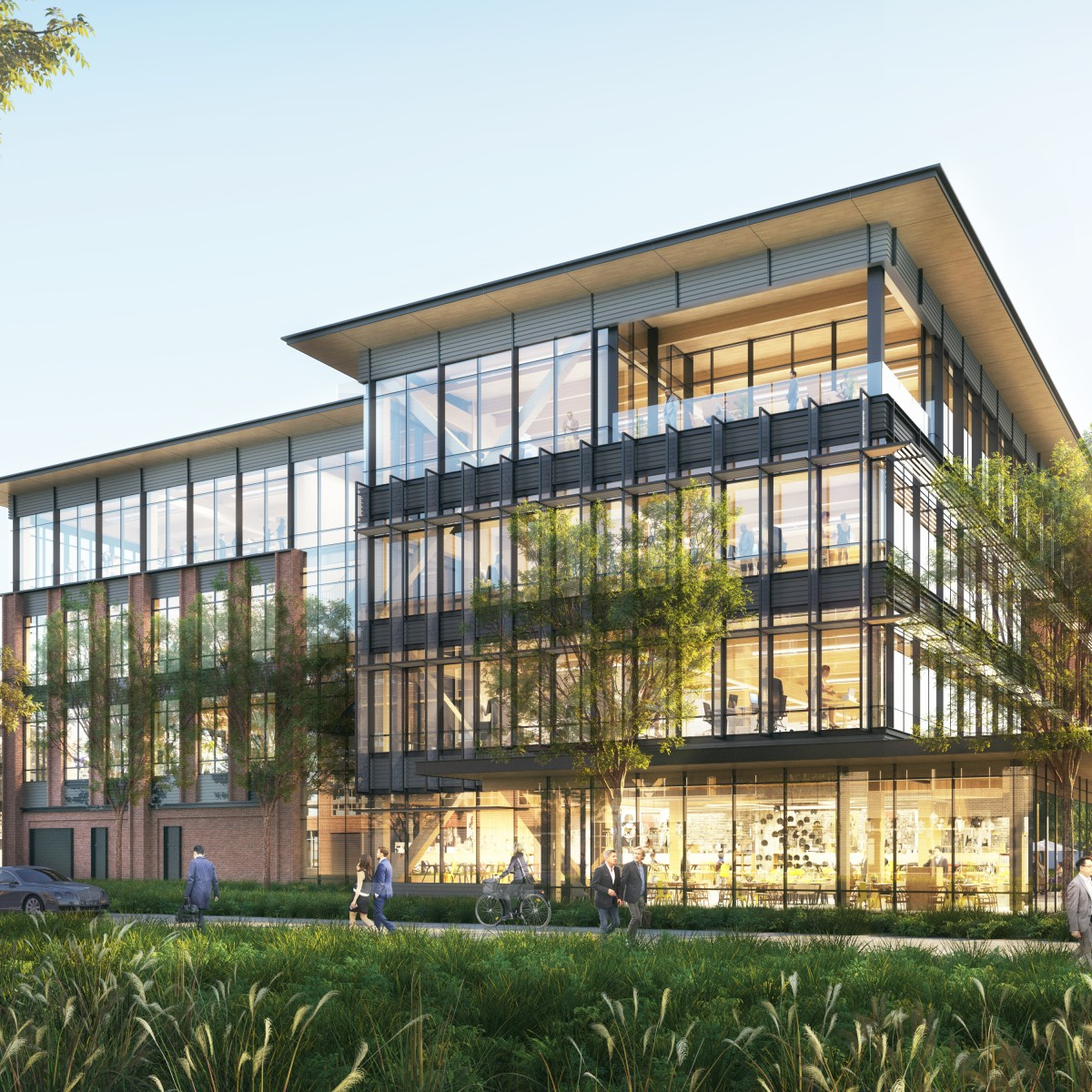 Illustrated Rendering Of Walmart Mass Timber Office Building