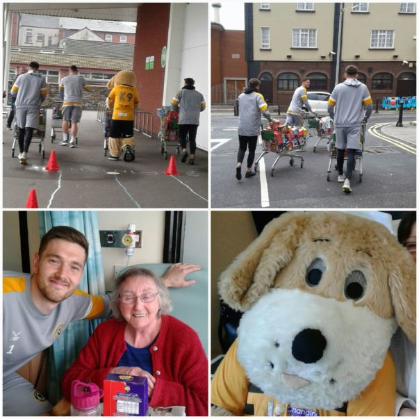 Asda Newport Pillgwenlly and Newport County FC deliver Easter eggs to the Royal Gwent Hospital