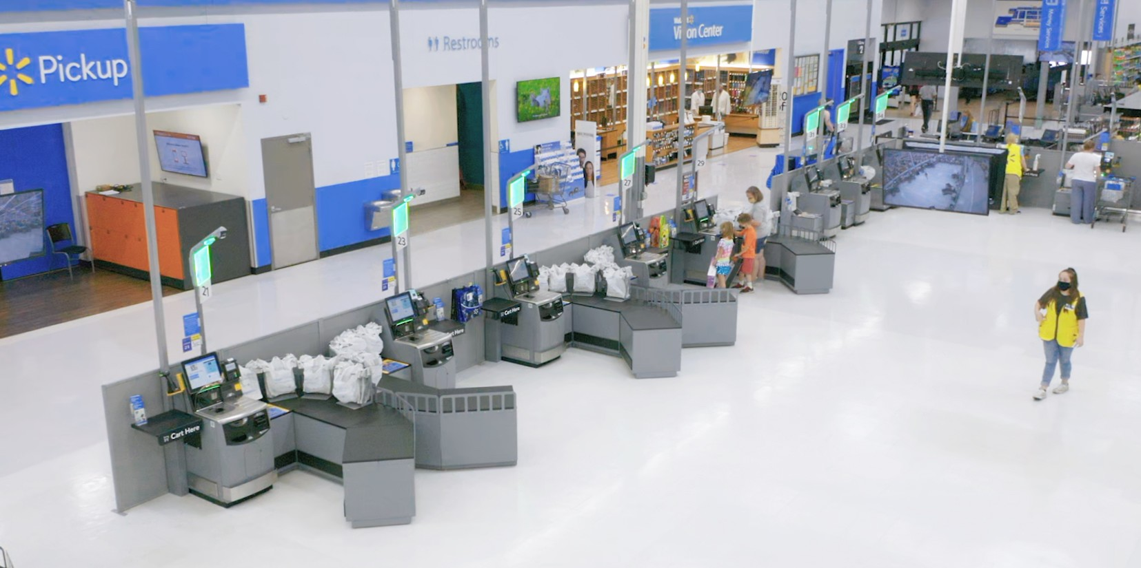 Overhead view of self checkout area