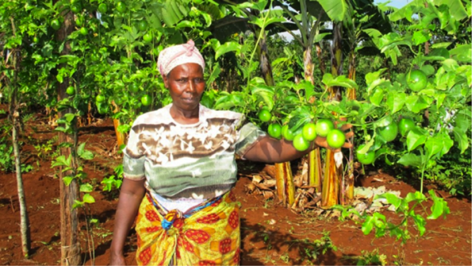 Female African Farmer with Produce