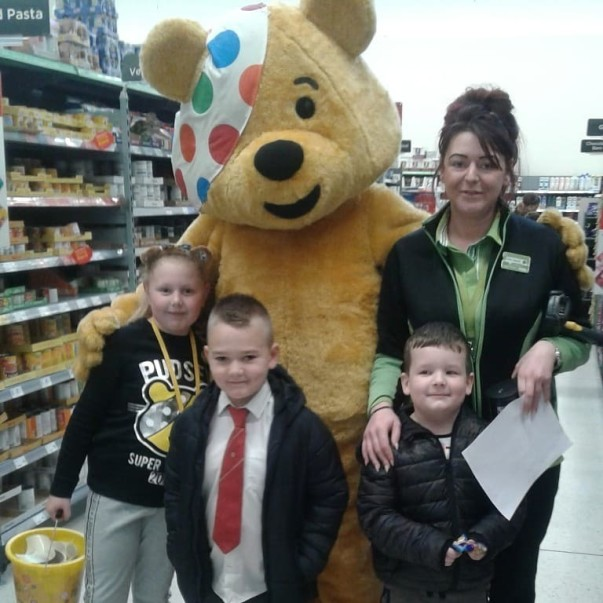 Pudsey at Asda Shaw for BBC Children in Need