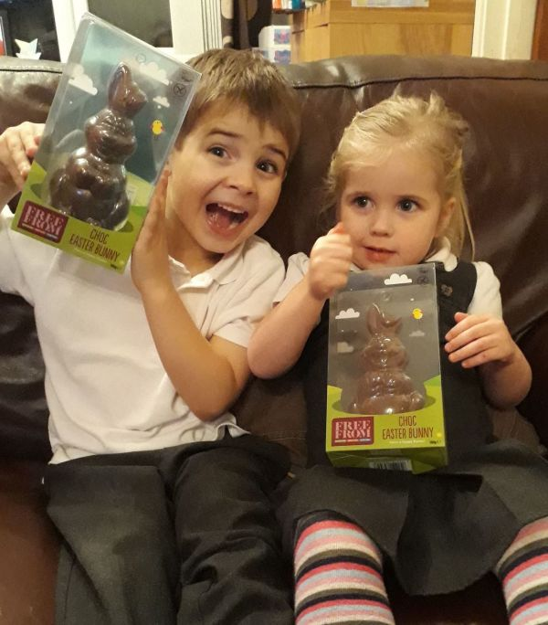 George and Isabella with their Asda Free From Choc Easter Bunnies