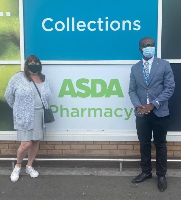 Asda Gloucester pharmacist Leo Duah-Gyawu helped Tracy Beard when she had a heart attack