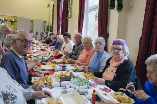 Pensioners enjoyed festive fish and chips with Asda Taunton