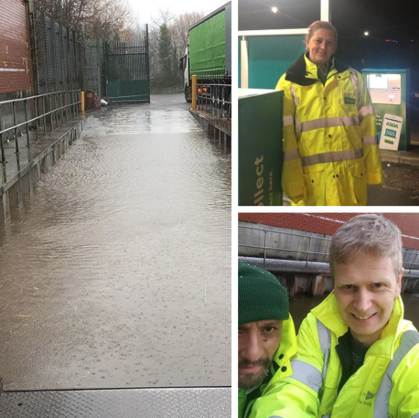 Asda Accrington delivery drivers defy floods from Storm Ciara