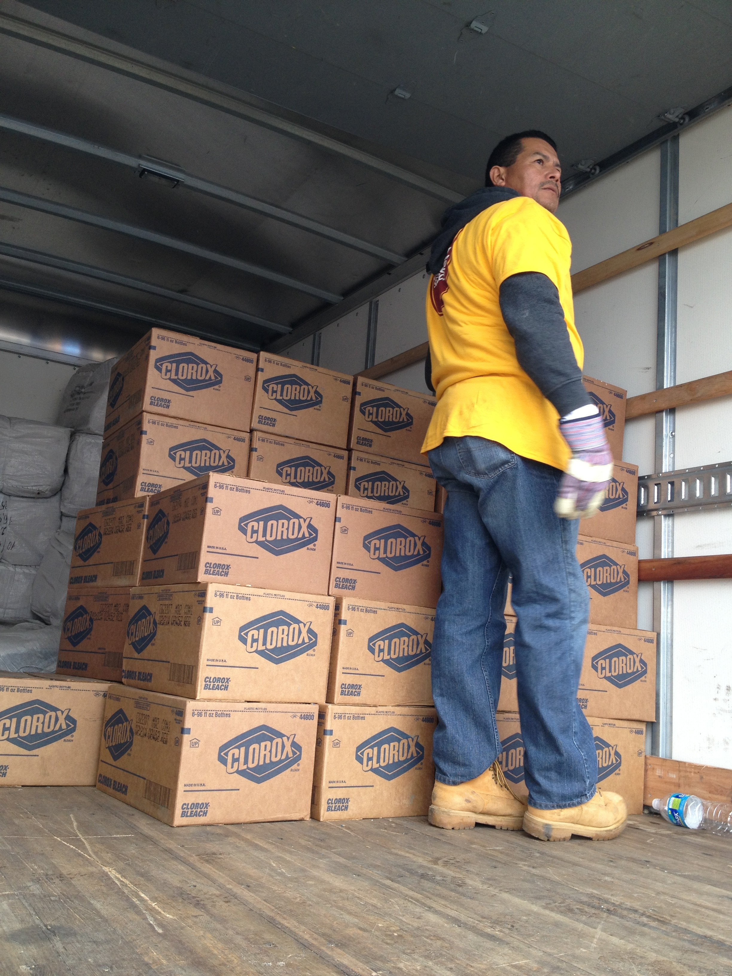 Volunteer Unloading Clorox Donation after Hurricane Katrina