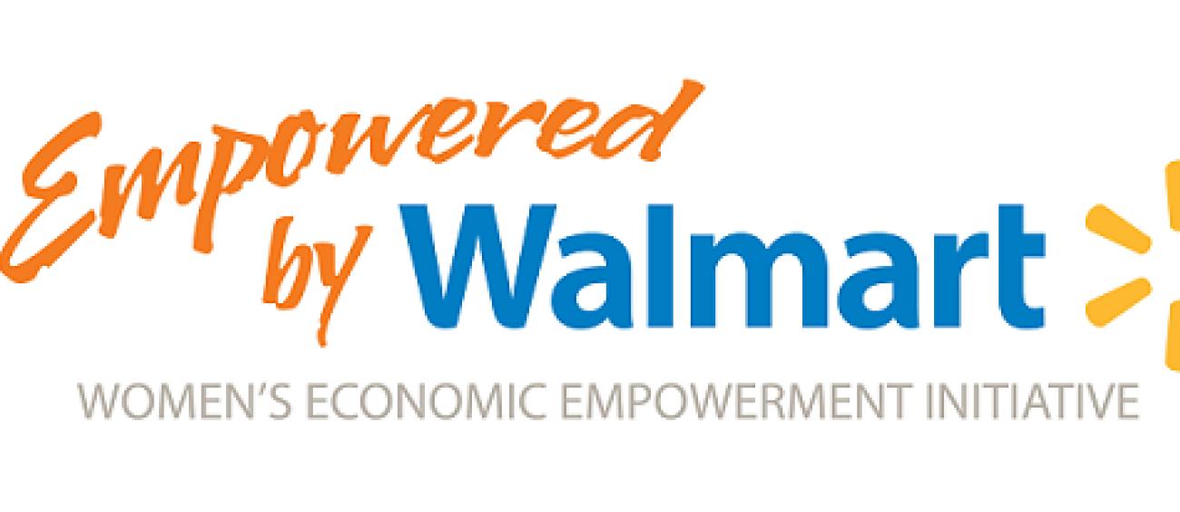 "Logo reads: ""Empowered by Walmart. Women's Economic Empowerment Initiative"""