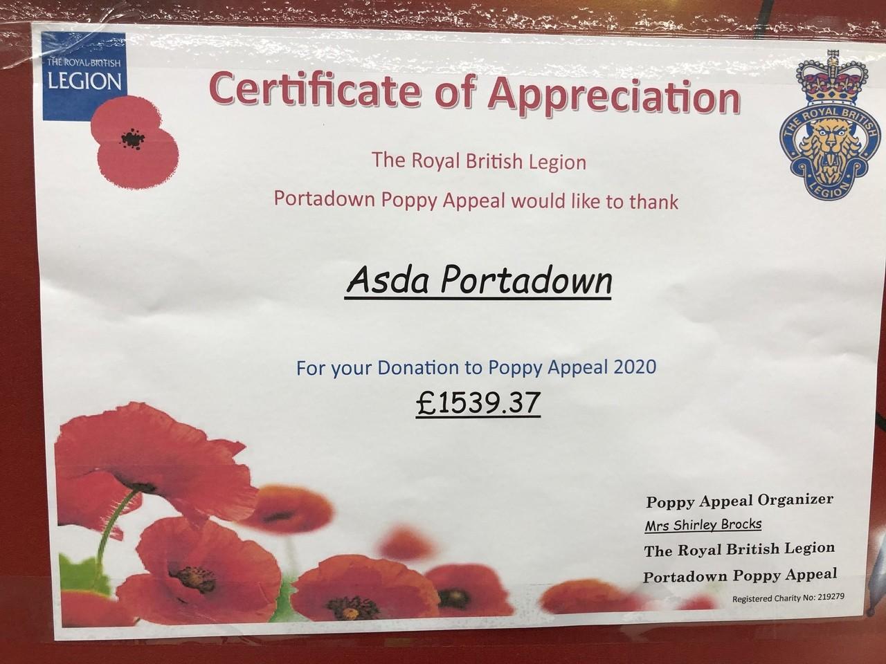 Poppy Appeal 2020 | Asda Portadown