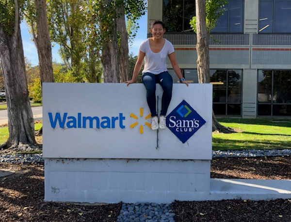 Ha Na Lee sits outside Walmart's San Bruno, California office