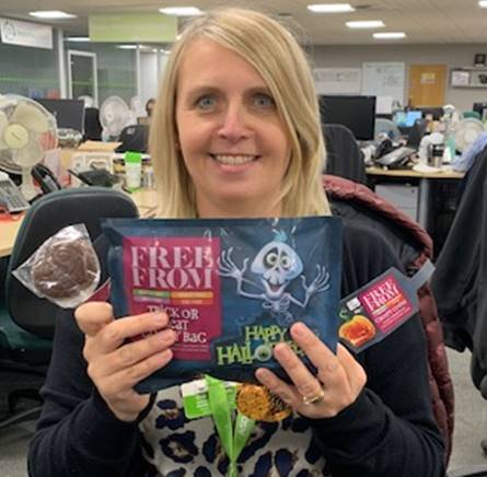 Jo McMillan with Free From Halloween treats