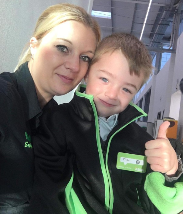 Mr Asda Theo Cook and his mum Charlie at Asda St Leonards