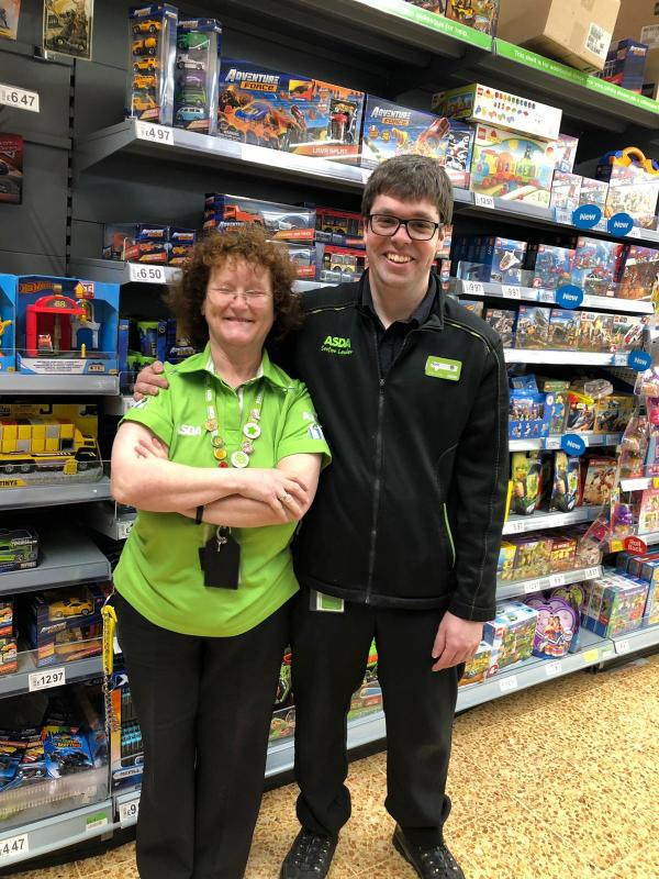 Asda Accrington Home and Leisure colleague Pam and Section Leader Mark