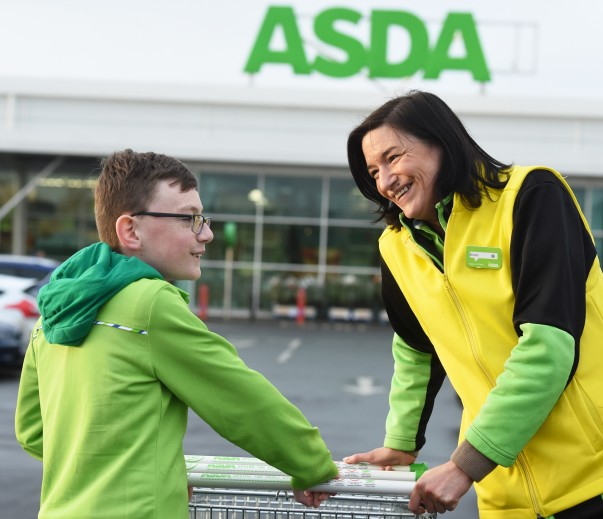 Jude and Kirstie outside the Antrim store