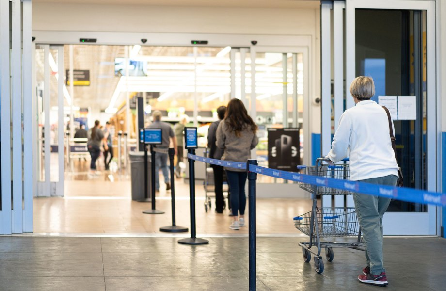 Customers Enter Walmart Store in Queue