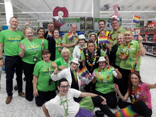 Colleagues from Asda stores in the North East support Newcastle Pride