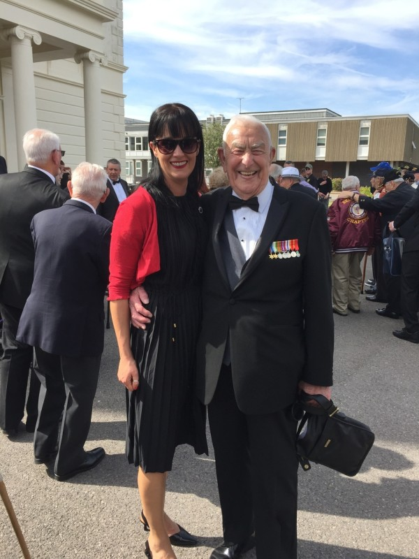 Katy Trapani from Asda Havant with veterans at events marking the anniversary of D-Day
