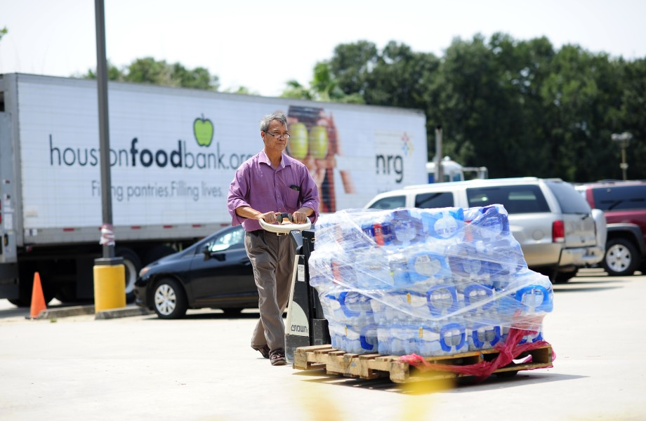 Delivering water to Houston Food Bank