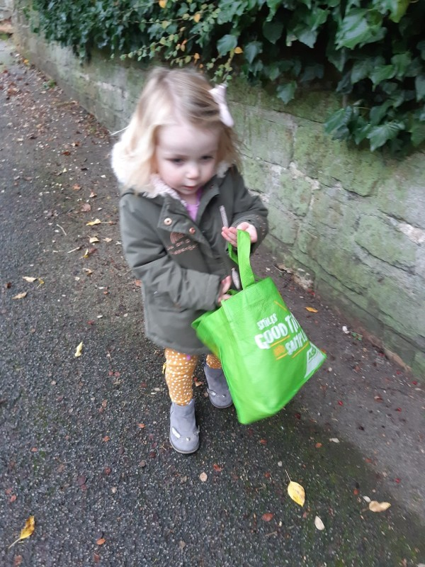 Chloe Williams with her Asda bag