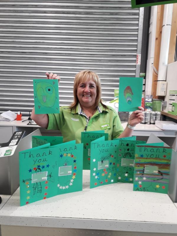 Asda Bedford thank you cards