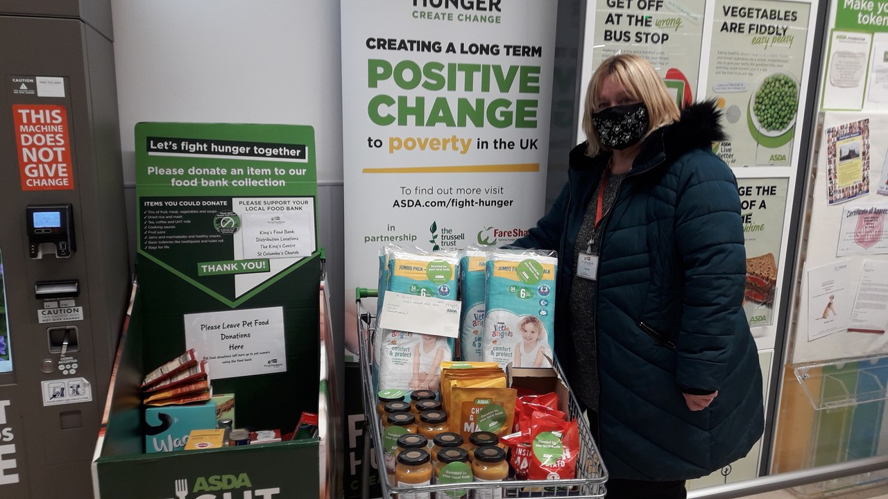 Darlington Support volunteer Carole collects Fight Hunger trolley donations | Asda Darlington