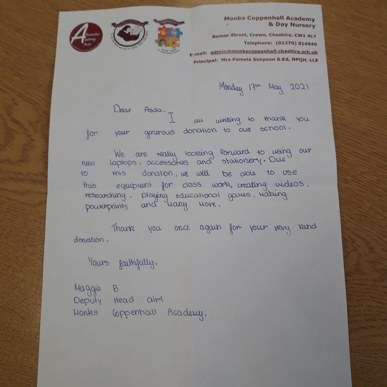 Lap top donation | Asda Crewe
