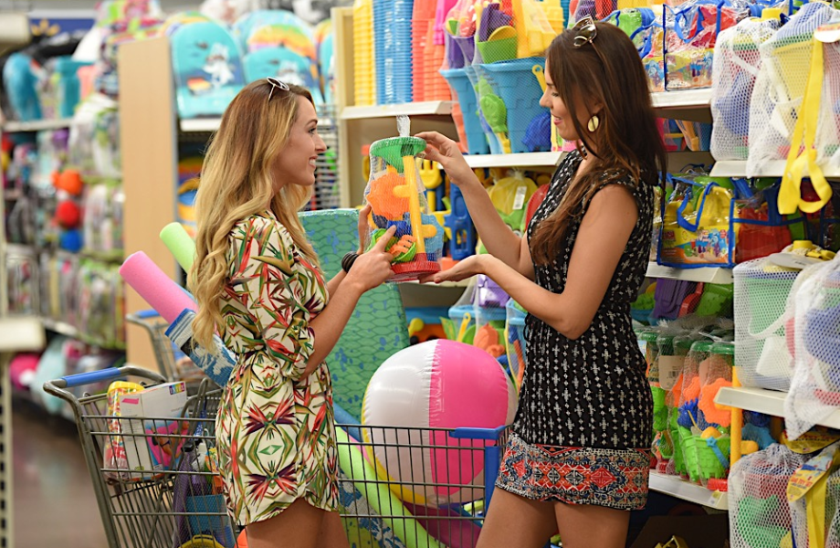 Two women shopping for beach equipment