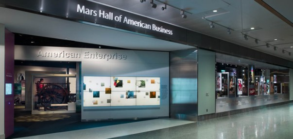 Photo of the entrance to the Smithsonian Exhibition featuring Sam Walton and Walmart