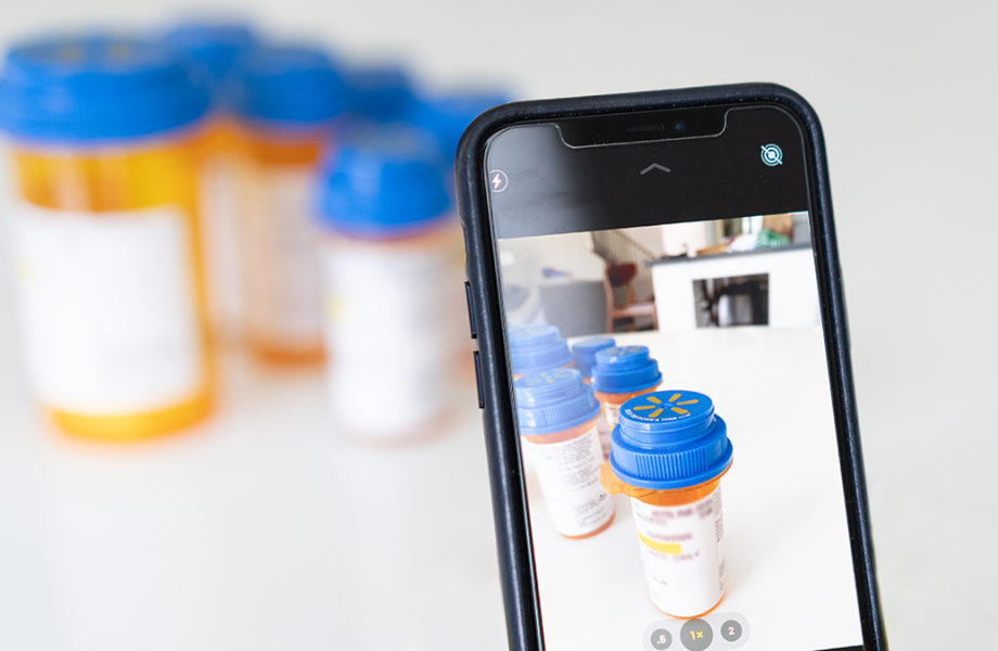 Phone taking picture of pill bottles