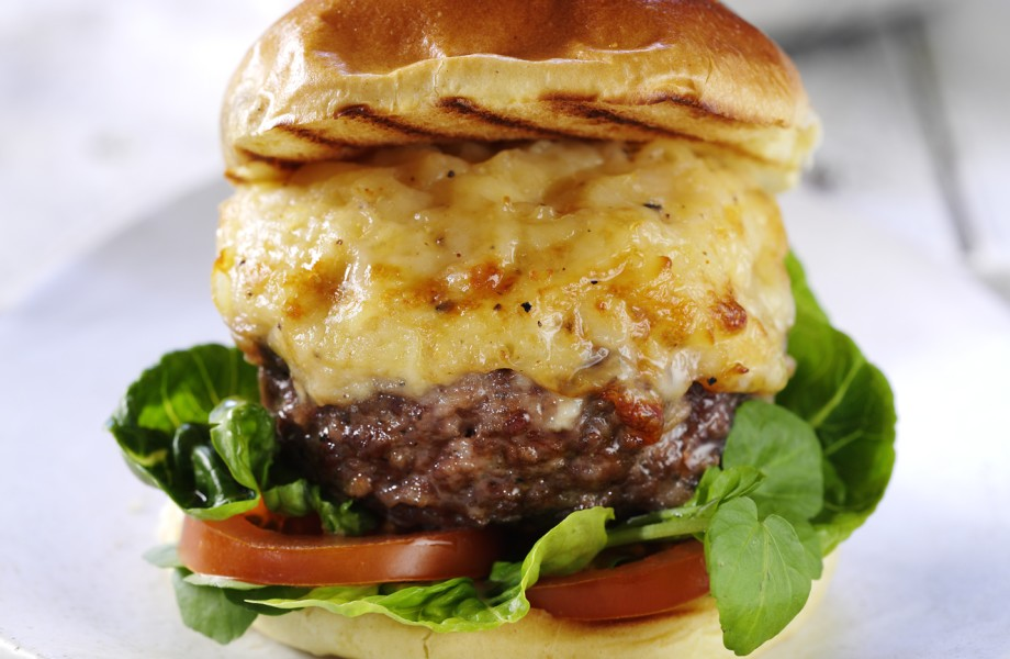 Extra Special Mac and Cheese Topped Burger