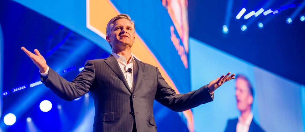 Brett Biggs addresses the crowd at Walmart 2017 Shareholders Meeting