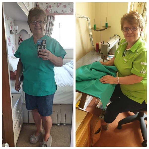Twins Hannah and Sandra from Asda Plymouth are sewing scrubs for the NHS