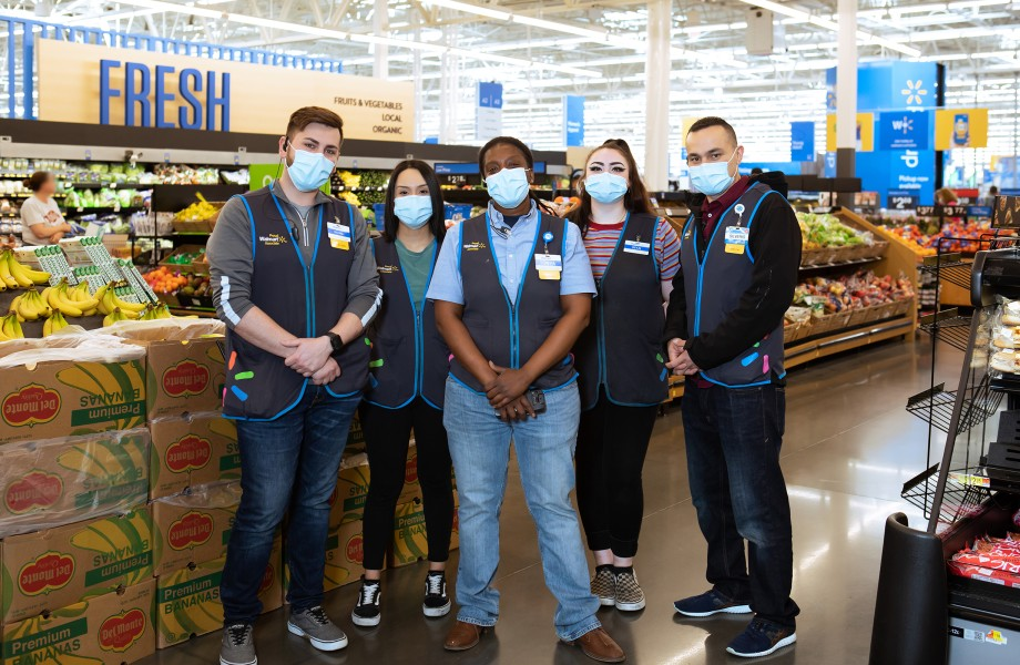 Group of associates wearing masks in produce department