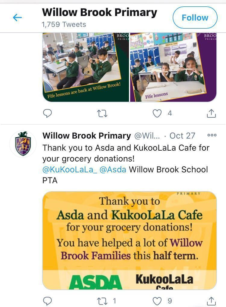 Food donation for Willow Brook Primary School | Asda Leyton Mills