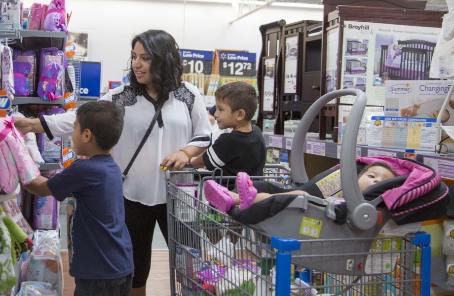 Mom with Kids in Walmart Baby Department