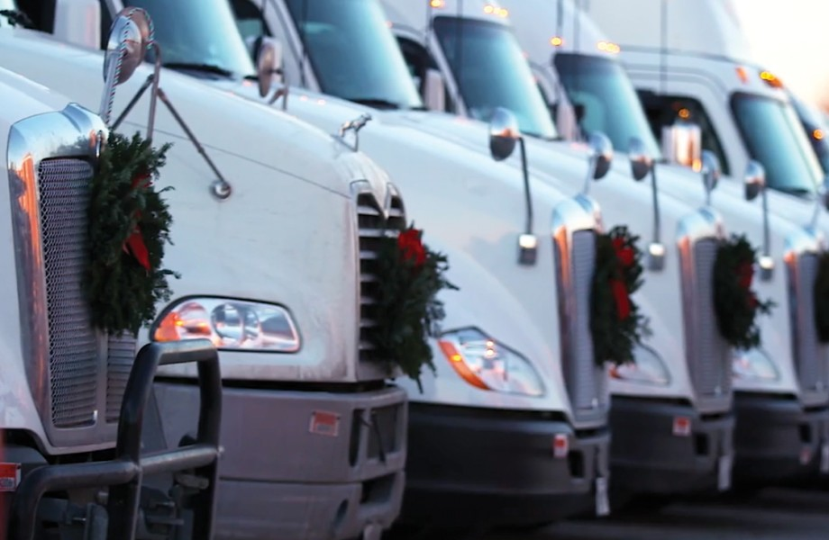 Wreaths across America 2019 row of trucks