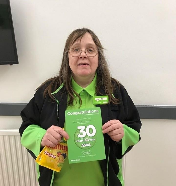 Madeleine celebrates 30 years' service | Asda Gosforth