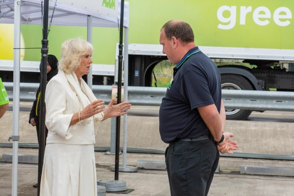 The Duchess of Cornwall with Asda Bristol CDC general manager Chris Tilly