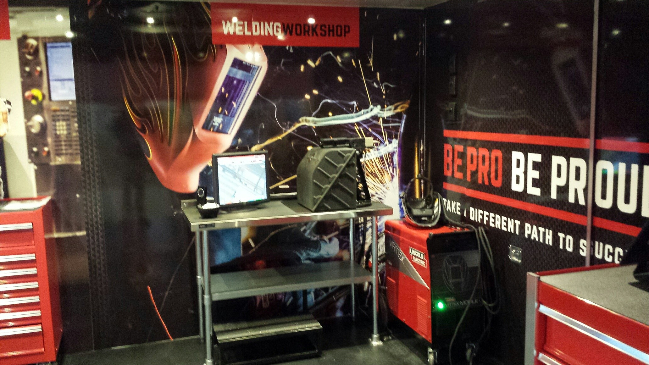 An image of the inside of the Be Pro Be Proud Truck showing welding
