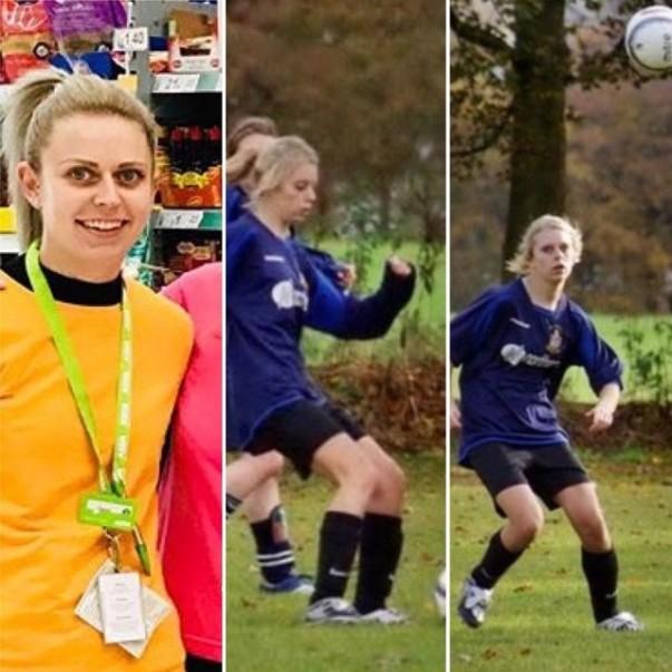 Sarah Gilroy from Asda Halifax playing football