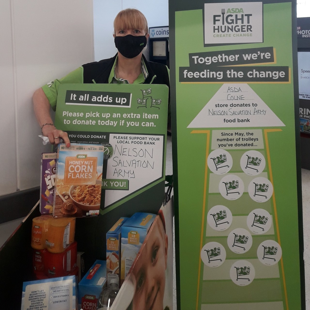 Were getting a fantastic response from our customers supporting our food bank | Asda Colne