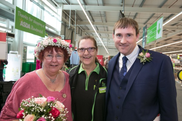 Asda Ace Anne with newlyweds Gill and Lee