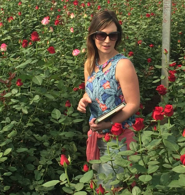 Asda roses buyer Sarah Oliver visiting a grower in Kenya