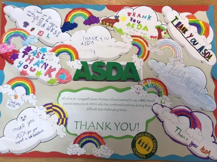 Thank you picture from pupils at Longwell Green Primary School | Asda Longwell Green