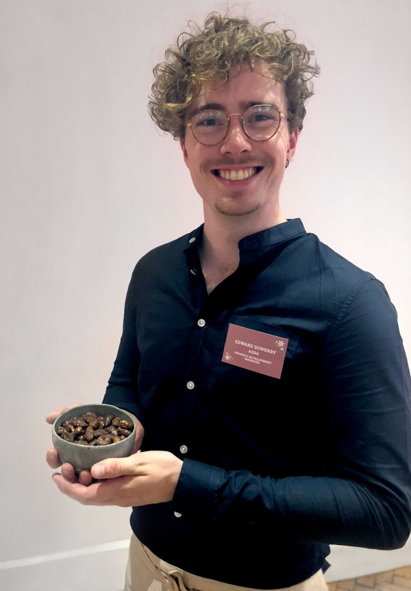 Ed Sowerby with the Extra Special Ed Sowerby with the Cinnamon and Maple nut mix he developed