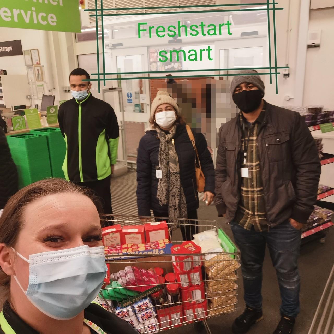 A donation of essential food items to FreshStart Smart | Asda Wythenshawe