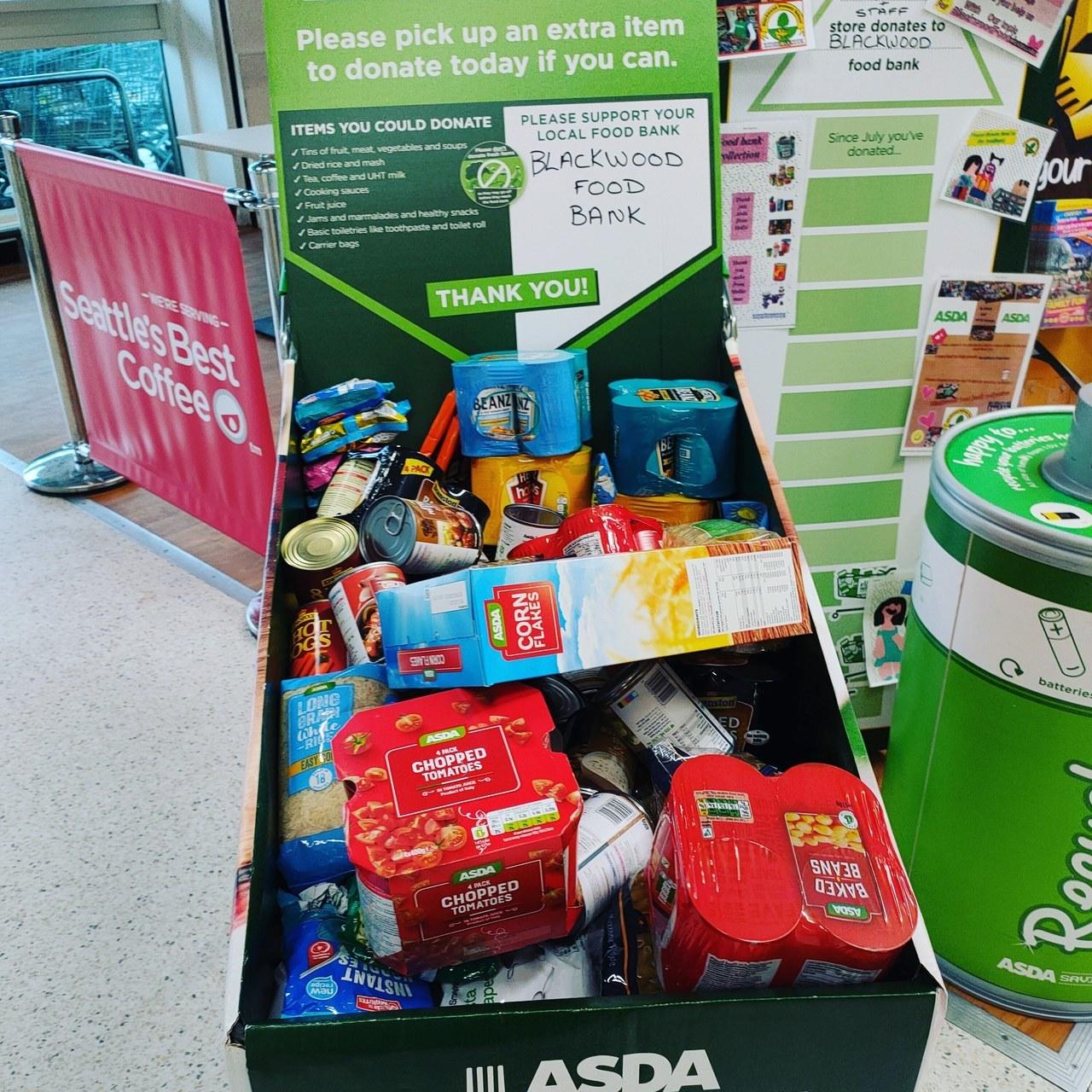 Food bank donation   Asda Blackwood