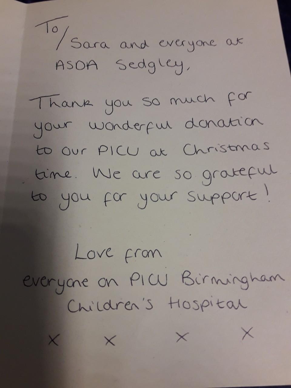 Christmas thanks from children's hospital | Asda Sedgley